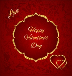 Happy valentine day gilded hearts red background vector