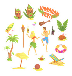 Hawaiian party set hawaii symbols vector