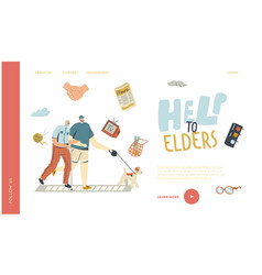 Helping and support aged pensioner landing page vector