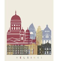 Helsinki skyline poster vector image vector image