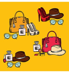 Hipster fashion set retro design vector