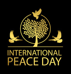international peace day gold emblem vector image