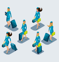 isometry set of female stewardesses in beautiful vector image
