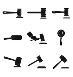 Judge hammer icons set simple style vector