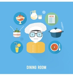 Kitchen concept with item icons vector image