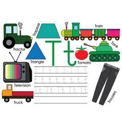 Letter t education for children learning english vector