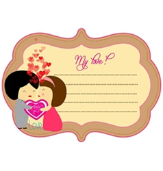 Love valentines about label vector image