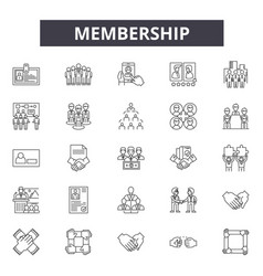 membership line icons signs set outline vector image