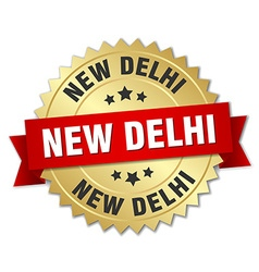 New Delhi round golden badge with red ribbon vector image