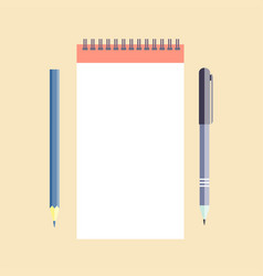 notepad with pen and pencil vector image