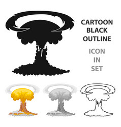 nuclear explosion icon in cartoon style isolated vector image