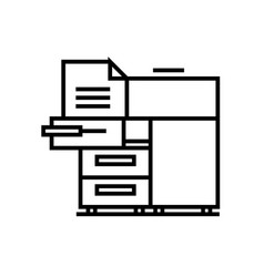 Office printer line icon concept sign outline vector