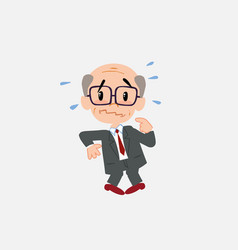 old businessman with glasses scared vector image