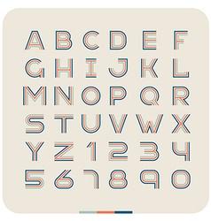 outline retro vintage font latin letters vector image