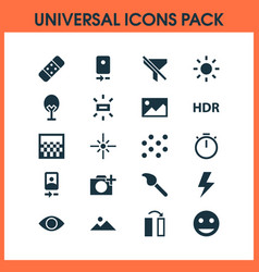 photo icons set with remove red eye flare vector image