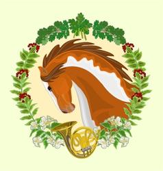 Piebald horse head of stallion leaves vector