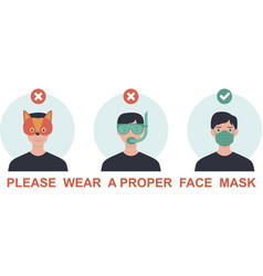 please wear a face mask avoid covid-19 vector image