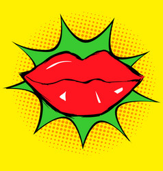 red lips in pop art vector image