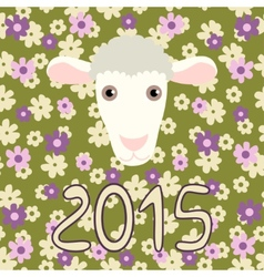 Retro card with cartoon sheep and flowers for vector