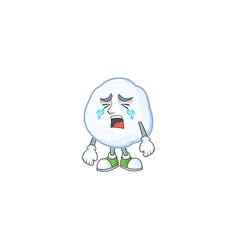 Sad crying snowball cartoon character design style vector