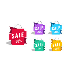 sale shopping bags as promotion tag with discount vector image