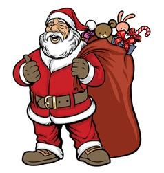Santa claus bring a bag full gift vector