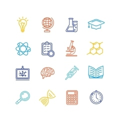 Science Outline Colorful Icons Set vector image