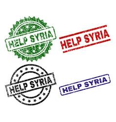 Scratched textured help syria stamp seals vector