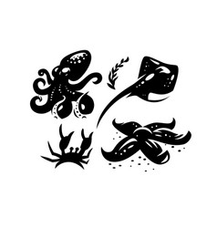 sea creatures crab stingray octopus starfish vector image