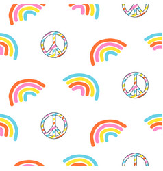 seamless pattern with rainbow and peace symbol vector image