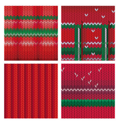 set knitted christmas background vector image