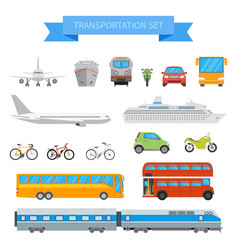 set of different transportation vehicles vector image