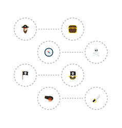 set of pirate icons flat style symbols with pirate vector image
