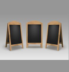 Set of wooden street stands signs menu boards vector