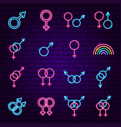 Sex gender neon icons vector