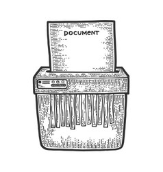 shredder cuts document sketch engraving vector image