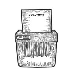 Shredder cuts document sketch engraving vector