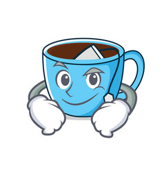 smirking tea cup character cartoon vector image