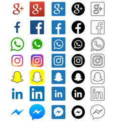 Social media icon for facebook whatsapp skype vector