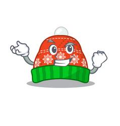 Successful winter hat in mascot shape vector