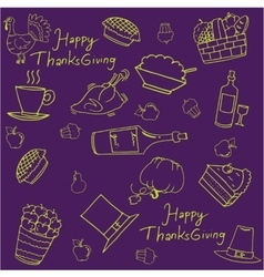 Thanksgiving doodles on purple backgrounds vector