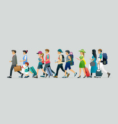 tourists and luggage vector image