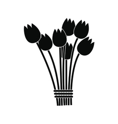 Tulips bouquet icon vector
