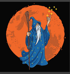 wizard character design cartoon with moon vector image