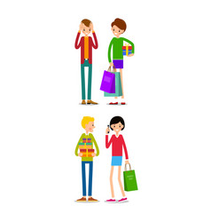 woman and man with shopping bags young people vector image