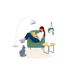 woman reading book background relaxed girl vector image