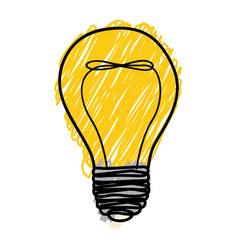 yellow pencil drawing background of light bulb vector image