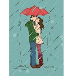 Young couple kissing under an umbrella vector