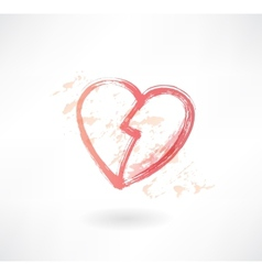 halves of the heart grunge icon vector image