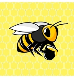 Bee on a honeycomb background vector image